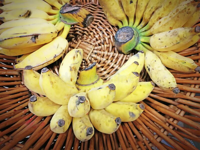 Ripe yellow banana in a basket. Tropical fruit. stock image
