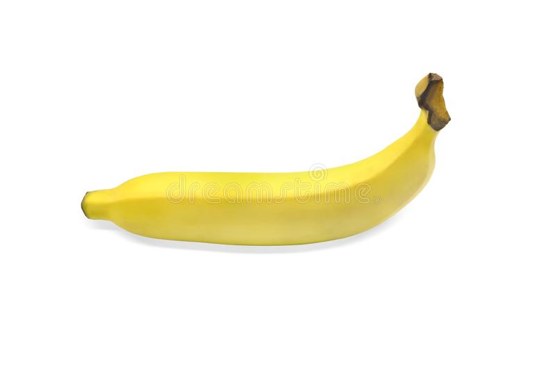 Ripe yellow banana fruit isolated on white background. With clipping path stock photos