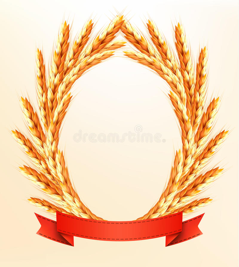 Ripe yellow wheat ears with red ribbons. Vector background stock illustration