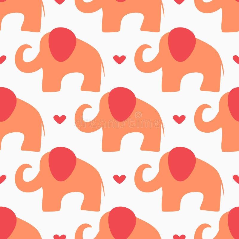 Ripetendo i cuori e le siluette astratte degli elefanti disegnati a mano Reticolo senza giunte del bambino sveglio royalty illustrazione gratis