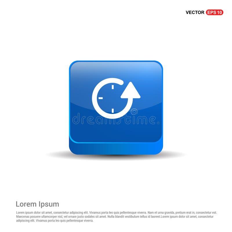 Ripeti l'icona dell'orologio - bottone del blu 3d illustrazione vettoriale