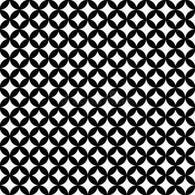 Ripetizione collegata in bianco e nero del modello delle mattonelle dei cerchi indietro royalty illustrazione gratis