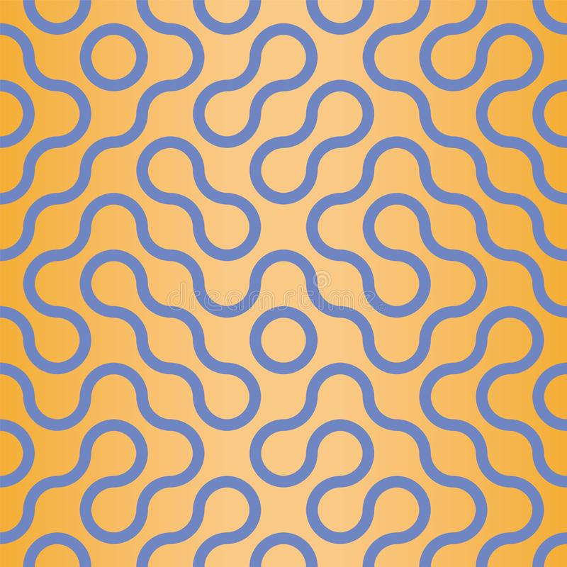 Ripetizione senza cuciture del modello di stile ondulato di Truchet dell'estratto di vettore illustrazione di stock