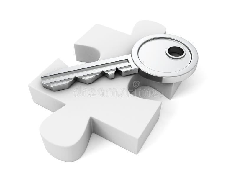 Riposo chiave metallico sul puzzle bianco immagine stock libera da diritti