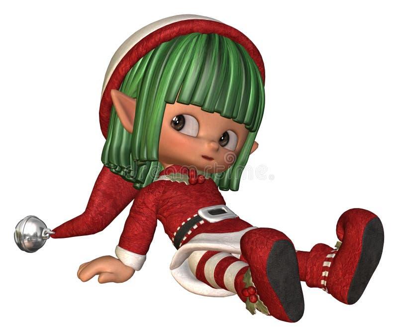 Riposo del poco elfo di natale illustrazione di stock
