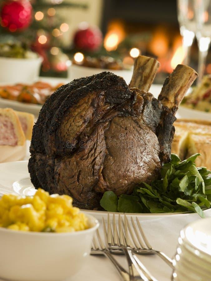 Rippe des britischen Rindfleisch-26. Dezember-Buffets stockbilder
