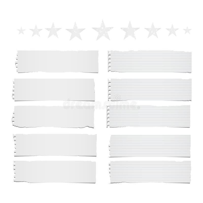 Ripped排行了和空白笔记、笔记本在白色背景困住的纸带文本的或消息与星在上面 皇族释放例证