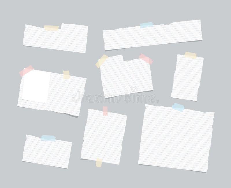 Ripped统治了笔记,笔记本,习字簿纸板料,小条困住与五颜六色的稠粘的磁带在浅灰色的背景 皇族释放例证