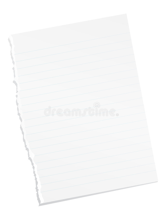 Ripped blank lined paper