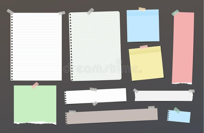 Ripped blank ruled note, notebook, copybook paper strips, sheets stuck with colorful sticky tape on dark background. Ripped blank ruled note, notebook, copybook royalty free illustration