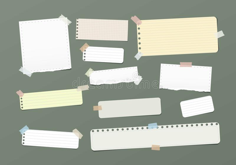Ripped blank, ruled note, notebook, copybook paper strips stuck with colorful sticky tape on green background. Ripped blank, ruled note, notebook, copybook vector illustration