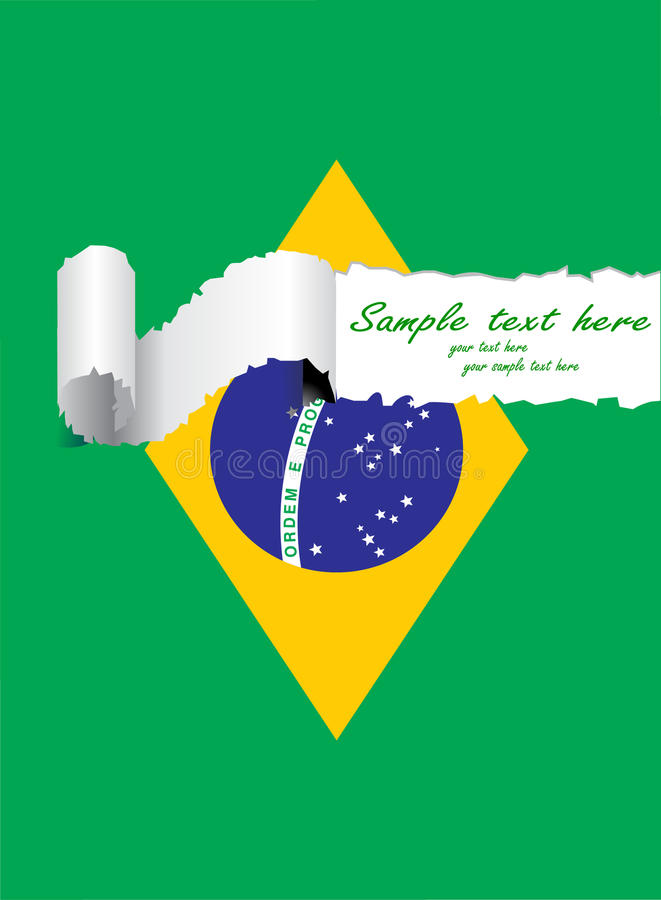 Ripped brazil flag royalty free illustration