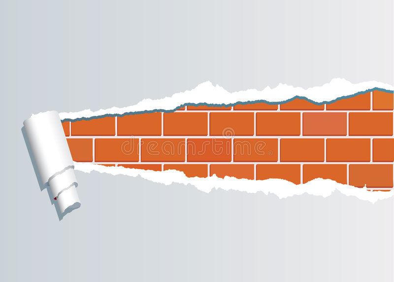 Ripped Brickwall1 Stock Images