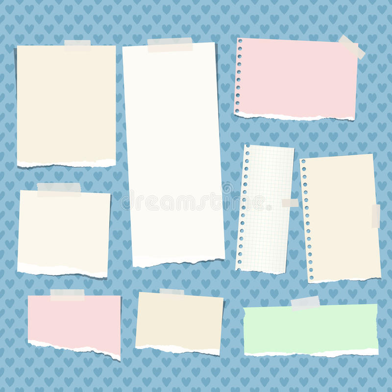 Ripped colorful, pastel note, notebook, copybook strips stuck with sticky tape on blue background created from heart. Shapes stock illustration