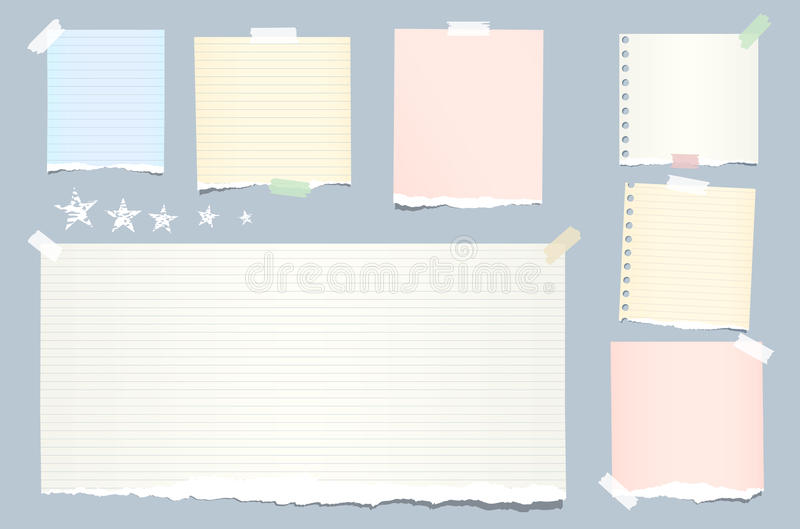 Ripped colorful, pastel note, notebook, copybook strips stuck with sticky tape and stars on blue background. Ripped colorful, pastel note, notebook, copybook royalty free illustration