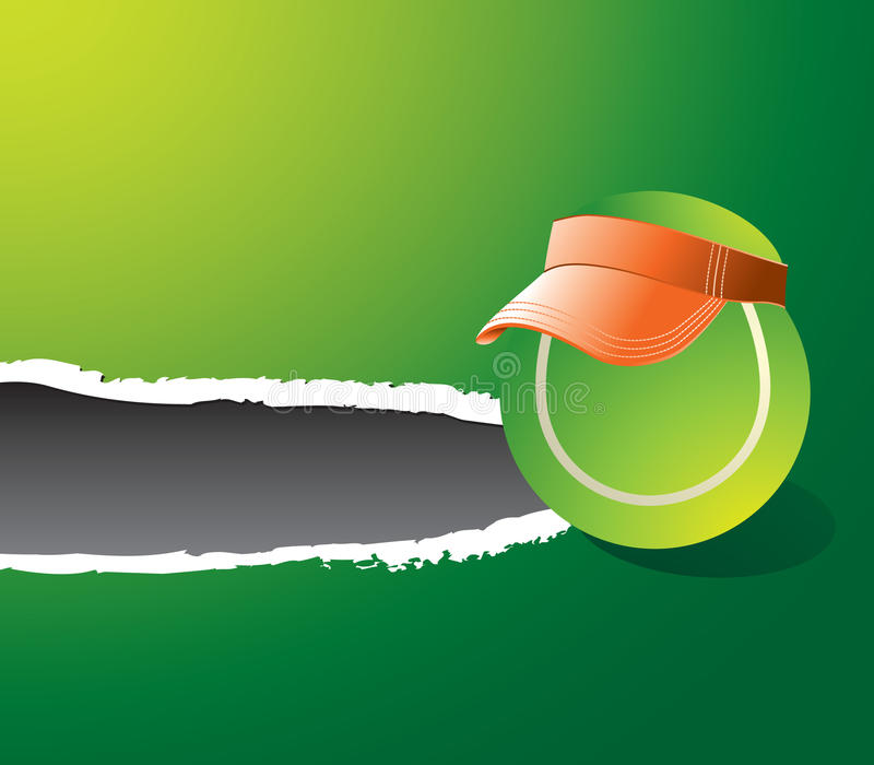 Ripped Green Banner With Tennis Ball Wearing Visor Stock Images
