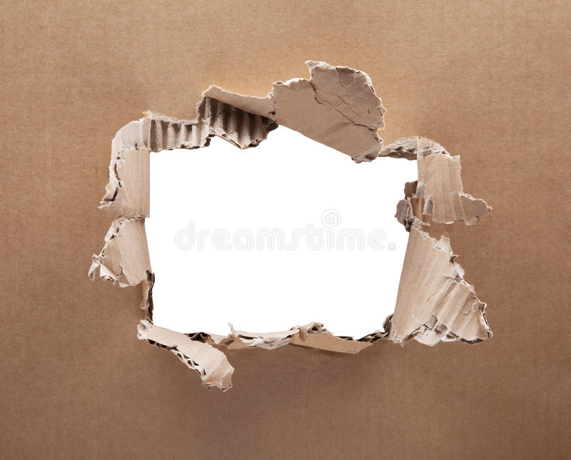 Download Ripped Hole In Cardboard On White Background. Stock Photo - Image: 83704989