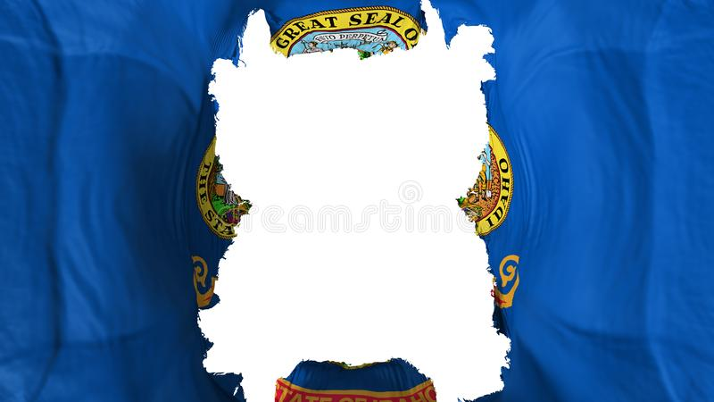 Ripped Idaho state flying flag. Over white background, 3d rendering vector illustration