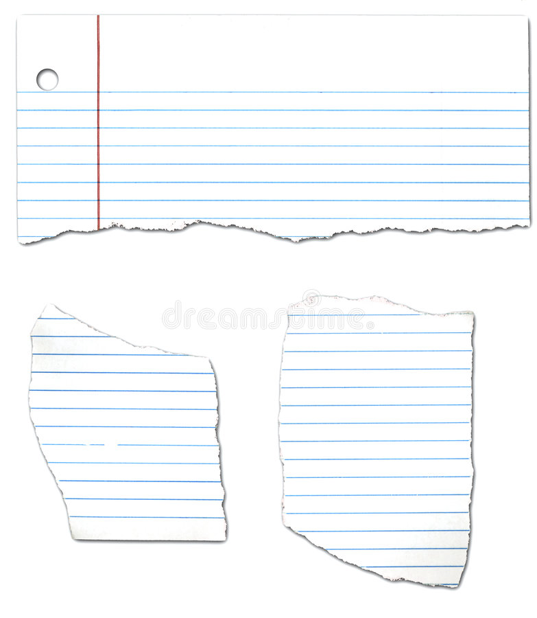 Ripped Looseleaf Paper Collection stock photos