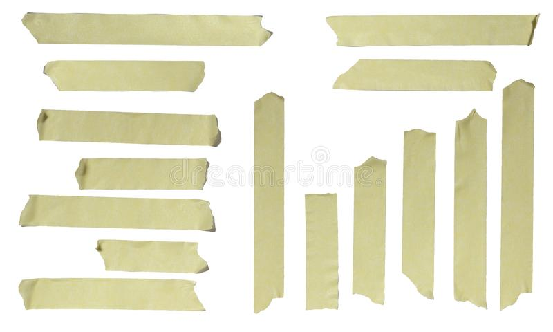 Ripped Masking Tape. Images of Ripped Masking Tape isolated on white royalty free stock photos