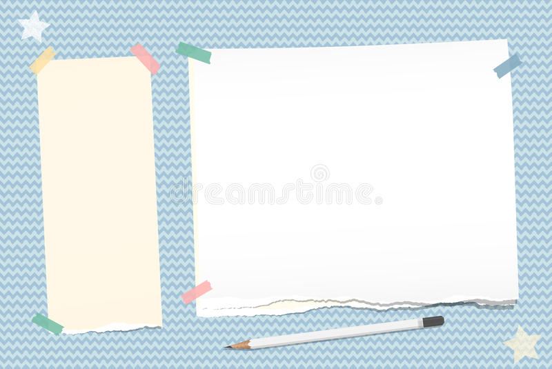 Ripped note, notebook, copybook paper stuck with sticky tape, white pencil, stars on blue wavy background. Ripped note, notebook, copybook paper stuck with stock illustration