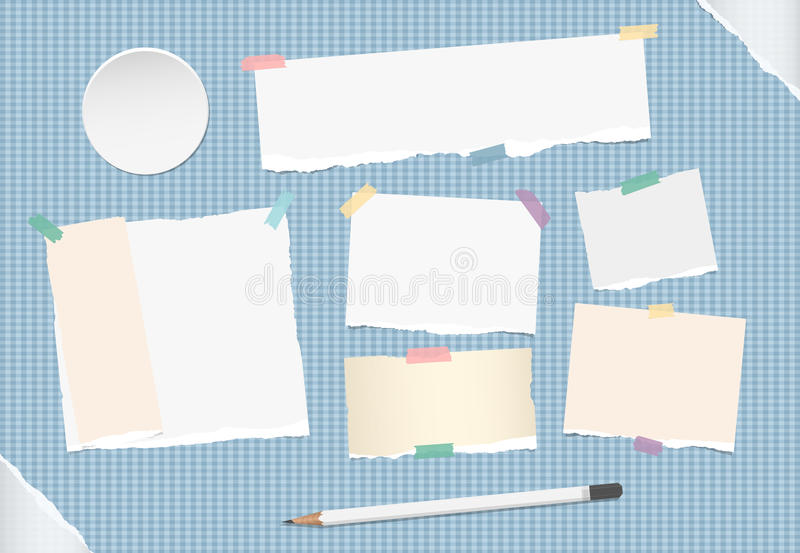 Ripped note, notebook, copybook stuck with sticky tape, white pencil on blue squared background, grey ripped paper in. Corners, circle badges, buttons royalty free illustration