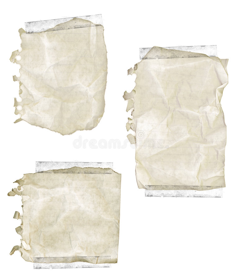 Ripped Old Notepad Paper With Tape Stock Photography