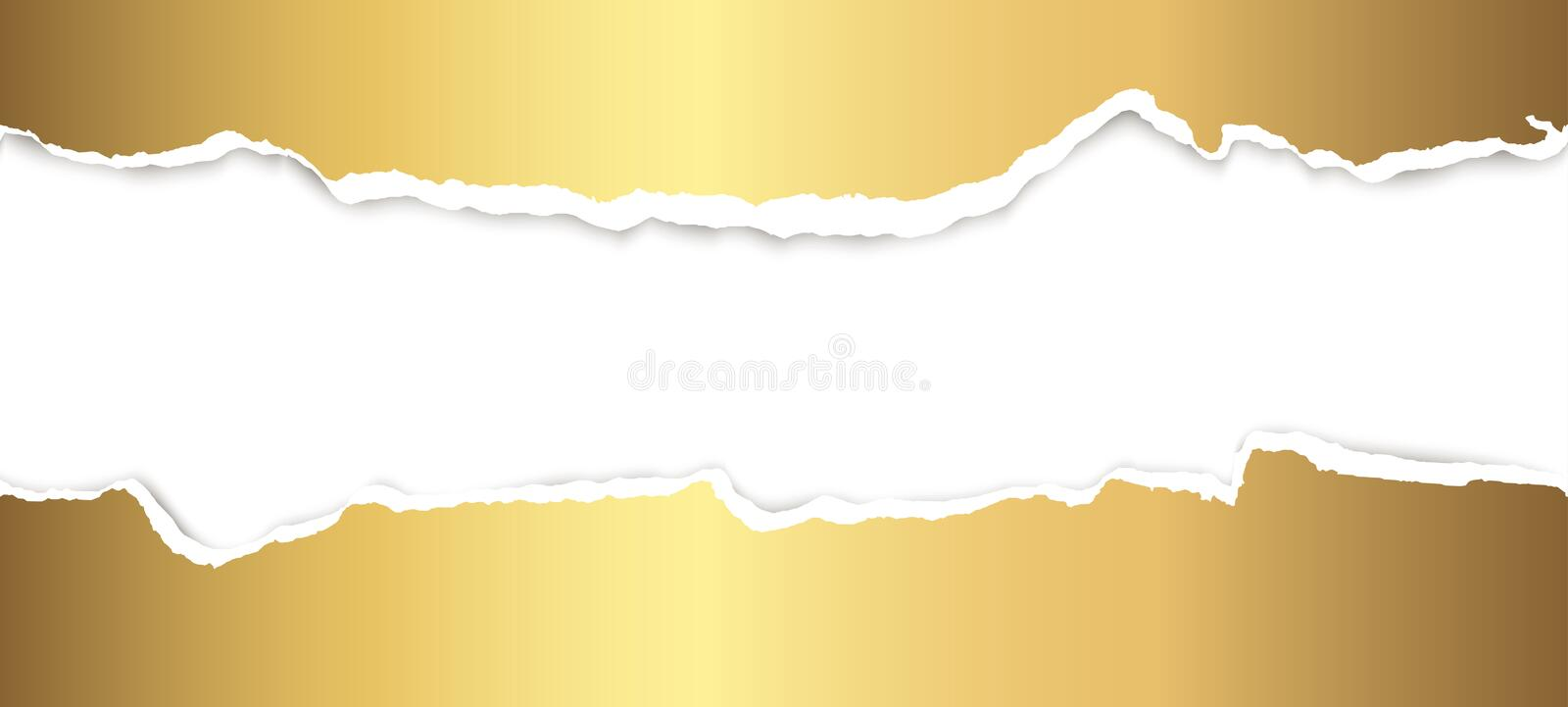 Ripped open paper. Upper and lower part of ripped open paper colored gold royalty free illustration