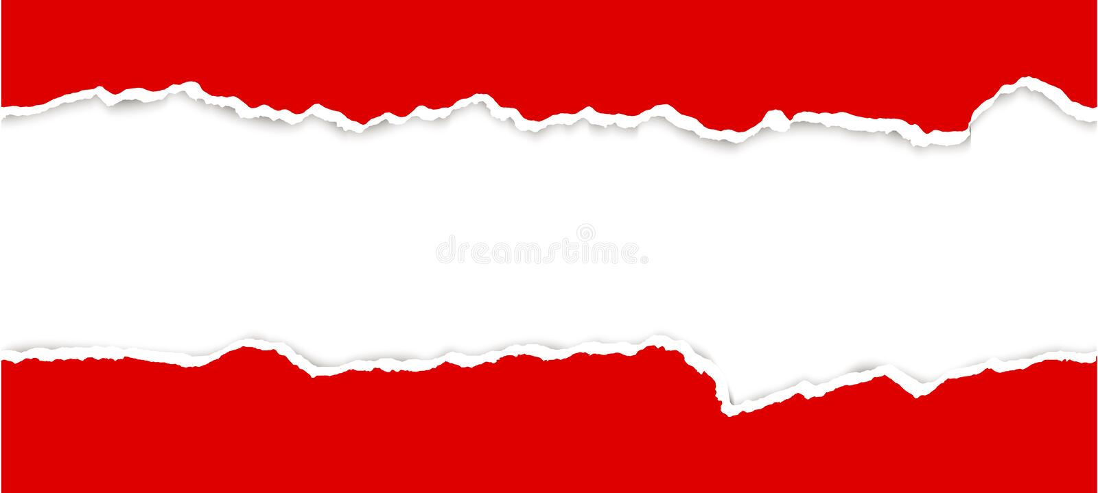 Ripped open paper. Upper and lower part of ripped open paper colored red stock illustration