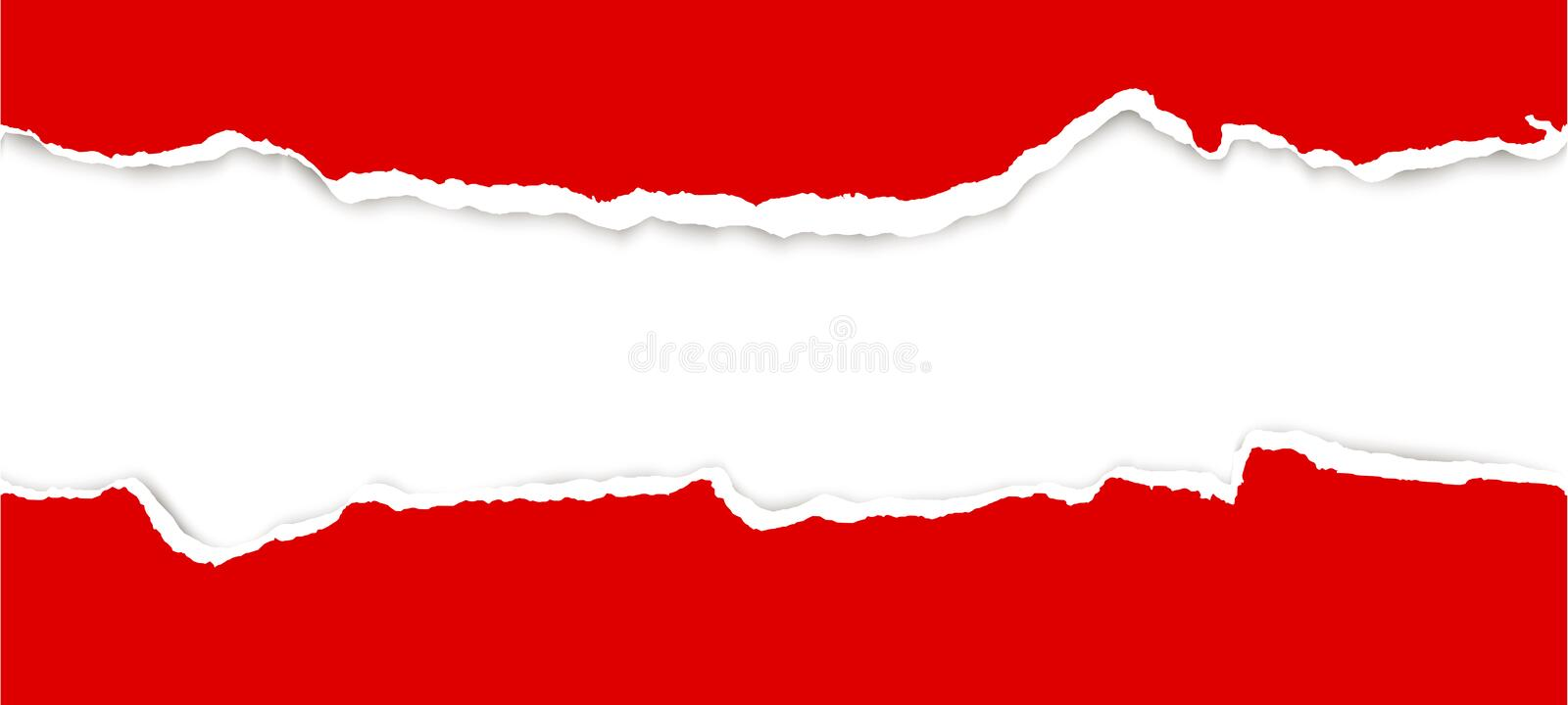 Ripped open paper. Upper and lower part of ripped open paper colored red royalty free illustration