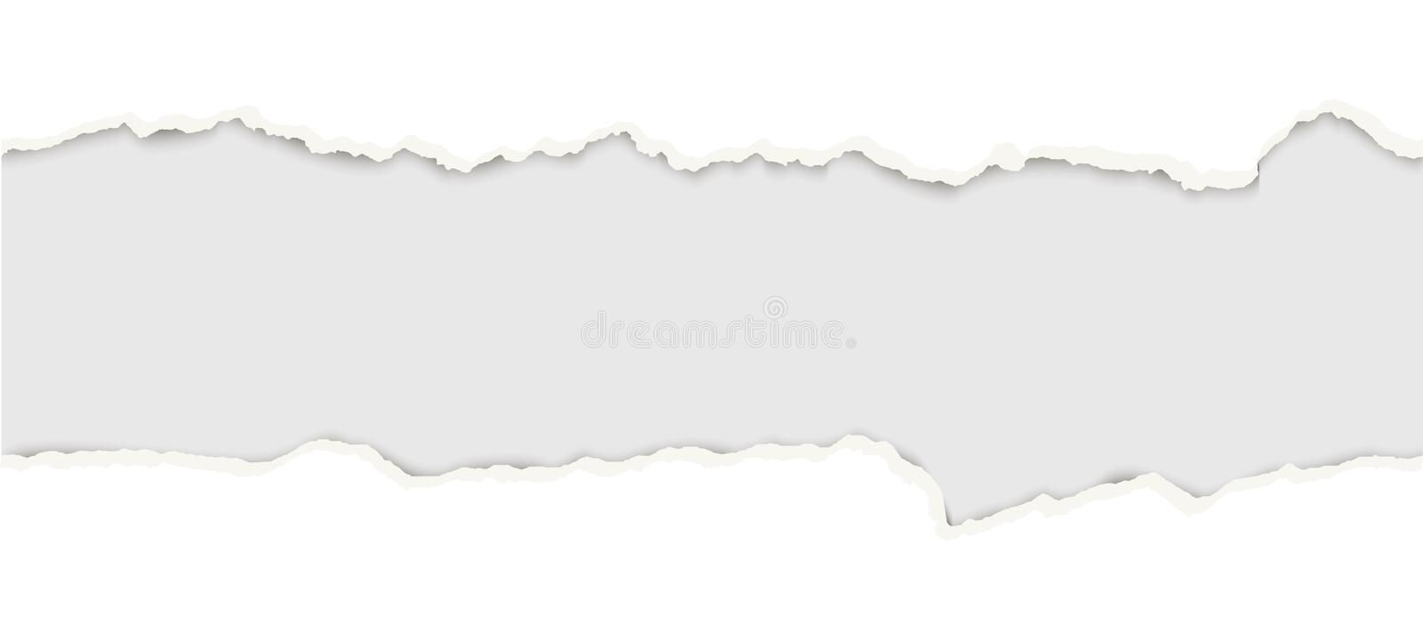 Ripped open paper. Upper and lower part of ripped open paper colored white royalty free illustration