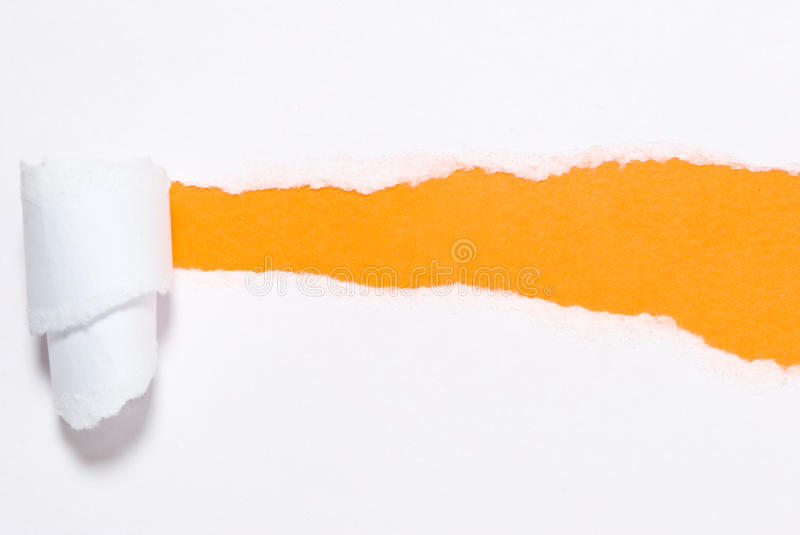 Ripped paper. Ripped White Paper on yellow background royalty free stock photo