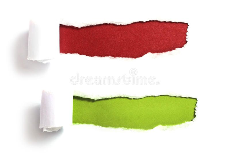 Ripped paper. With red and green background royalty free stock photos