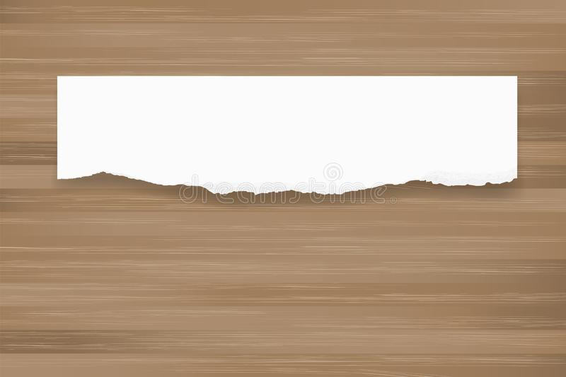 Ripped paper background on brown wood texture. Torn paper edge. vector illustration