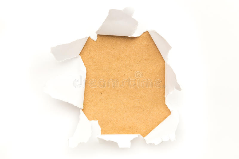 Ripped Paper Hole. Shoot of a Ripped Paper background stock photo