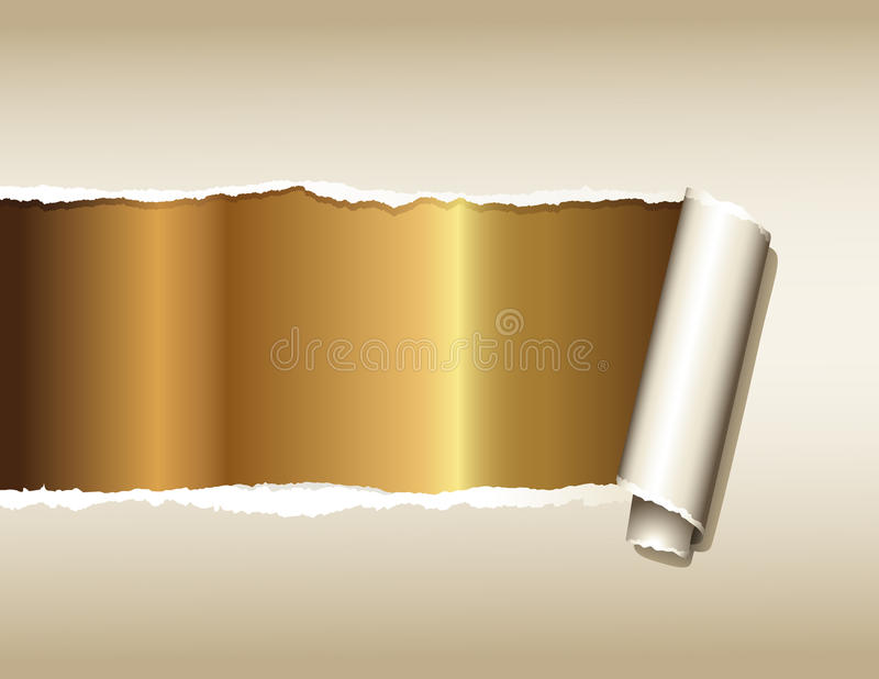 Ripped paper over gold stock illustration
