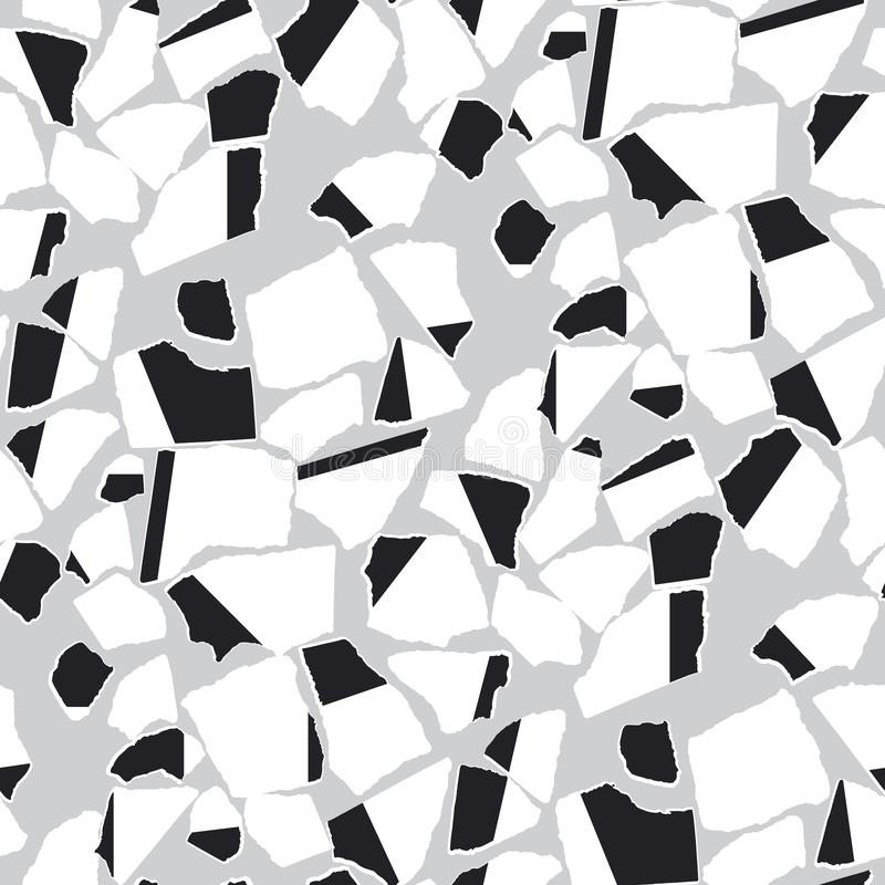 Ripped paper pieces flat vector seamless pattern stock illustration