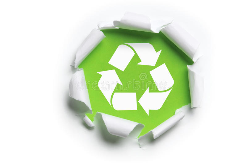 Ripped paper with recycle logo royalty free stock photos