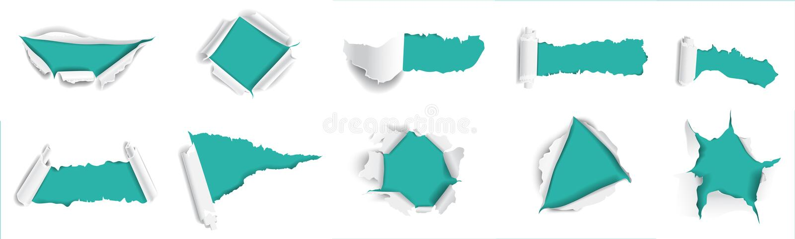 Ripped paper set. stock illustration