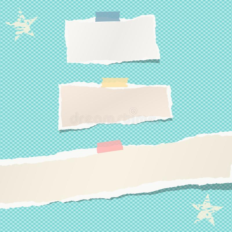 Ripped paper strips, notebook, note for text or message stuck with colorful sticky tape on blue squared background with. Stars vector illustration