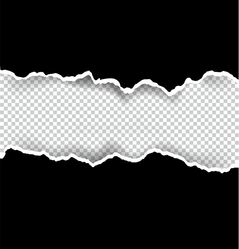 Ripped paper transparent and black background with space for text, vector art and illustration. royalty free illustration
