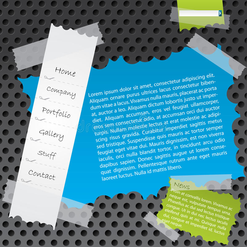 Ripped paper website template design royalty free illustration