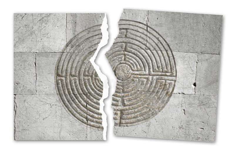 Ripped photo of a labyrinth carved on stone wall of a romanesque church - concept image royalty free illustration