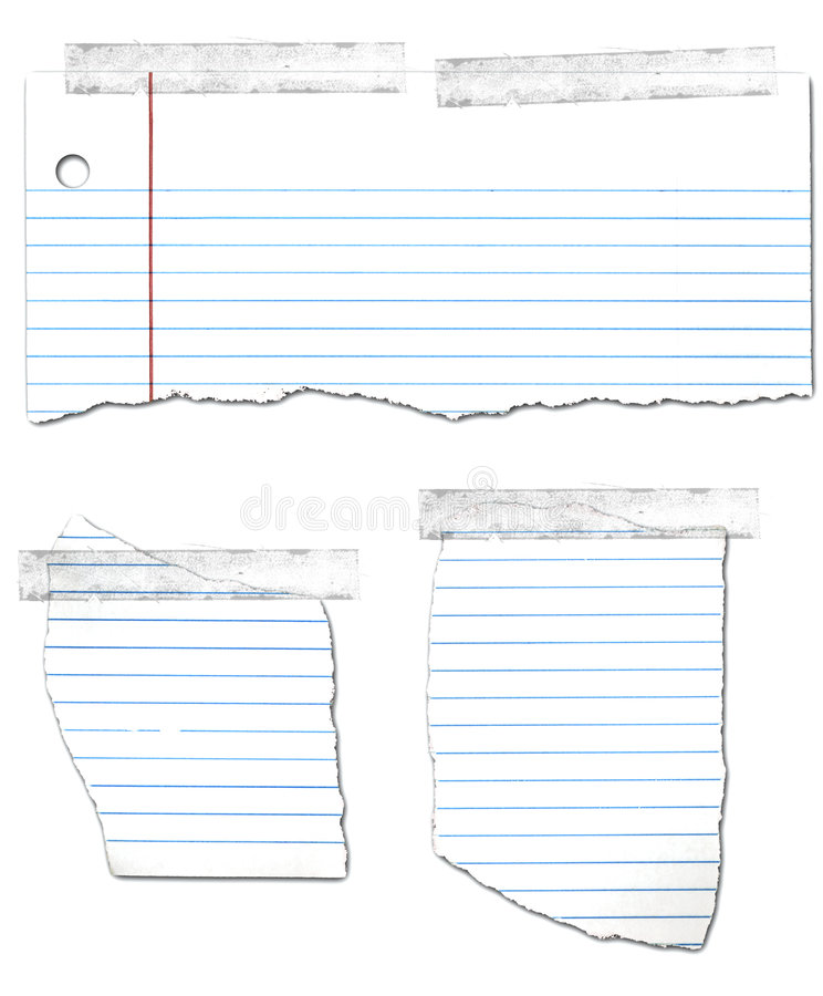 Download Ripped And Taped Looseleaf Paper Collection Stock Photo - Image: 4604790
