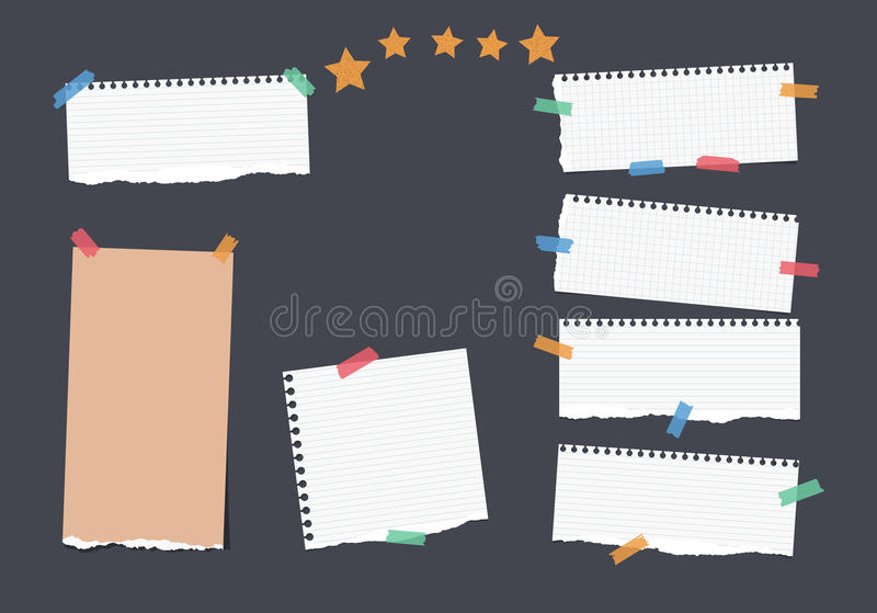Ripped white, brown note, notebook, copybook, ruled paper strips stuck with colorful sticky tape, stars on black. Background royalty free illustration