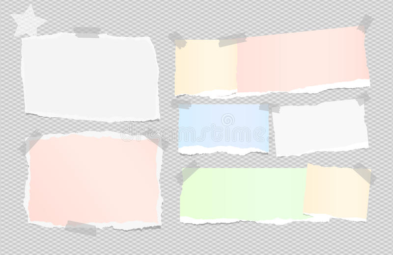 Ripped white, colorful note, notebook, copybook paper sheets stuck with sticky tape on squared gray background and star. On corner stock illustration