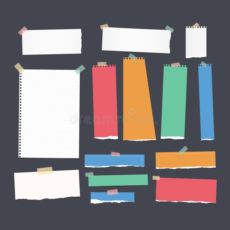 Ripped white and colorful ruled note, notebook, copybook paper strips, sheet stuck with sticky tape on black background. Ripped white and colorful ruled note vector illustration