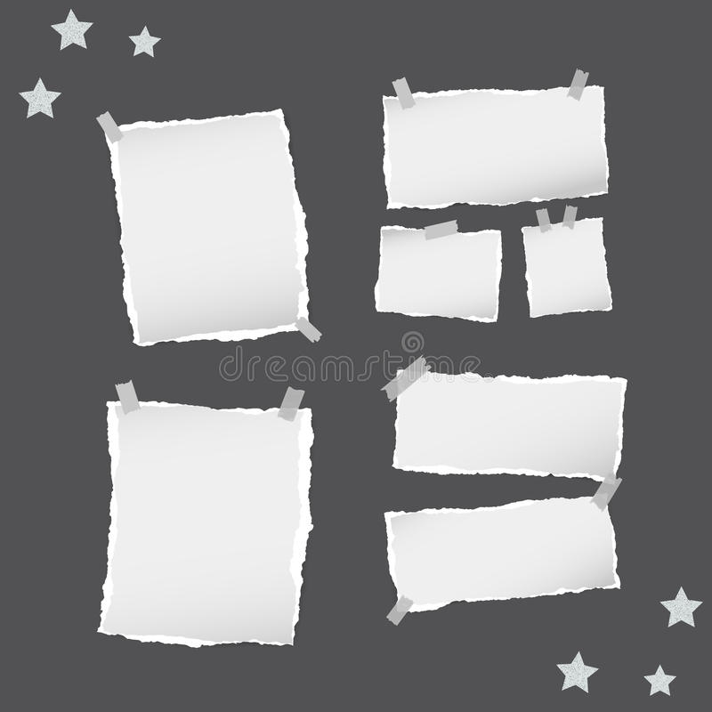 Ripped white note, notebook, copybook paper sheets, stars, stuck with sticky tape on black background. Ripped white note, notebook, copybook paper sheets, stars royalty free illustration