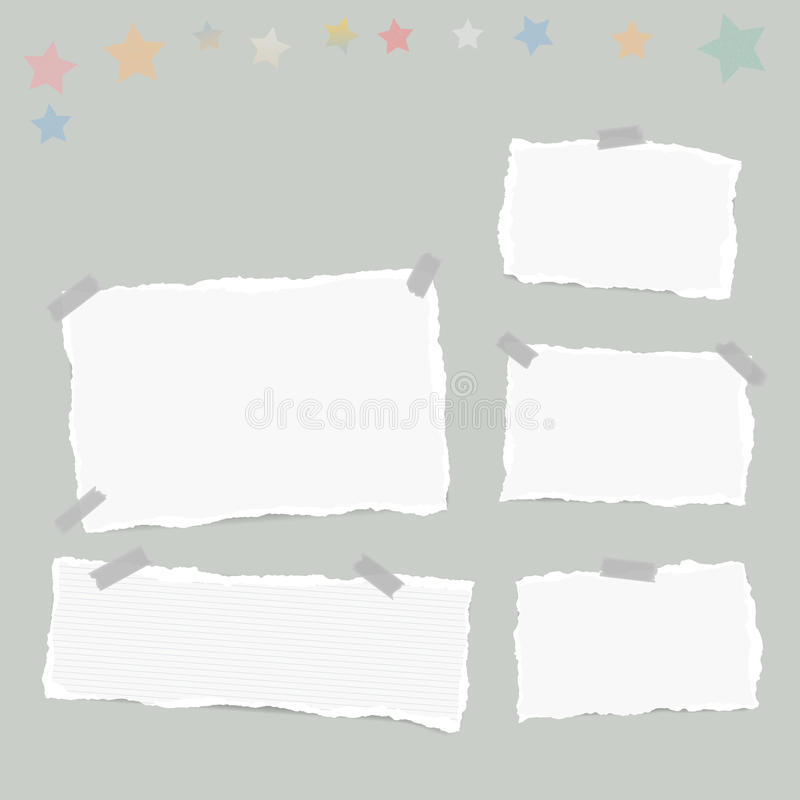 Ripped white note, notebook, copybook paper sheets, stars, stuck with sticky tape on gray background. Ripped white note, notebook, copybook paper sheets, stars stock illustration