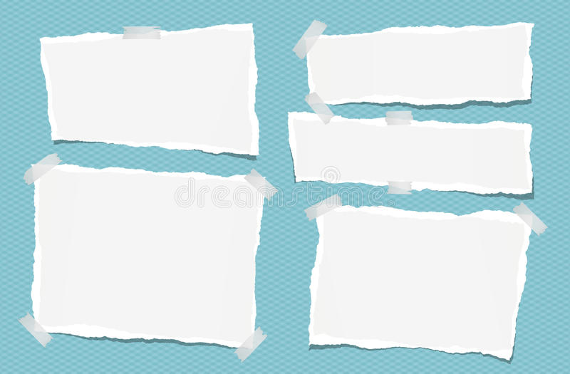Ripped white note, notebook, copybook paper strips stuck with sticky tape on squared blue background. Ripped white note, notebook, copybook paper strips stuck stock illustration